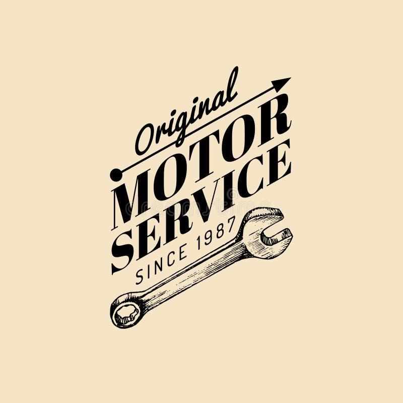Logo d'annata di riparazione del motociclo di vettore La retro etichetta del garage con la mano ha schizzato la chiave Emblema su illustrazione vettoriale
