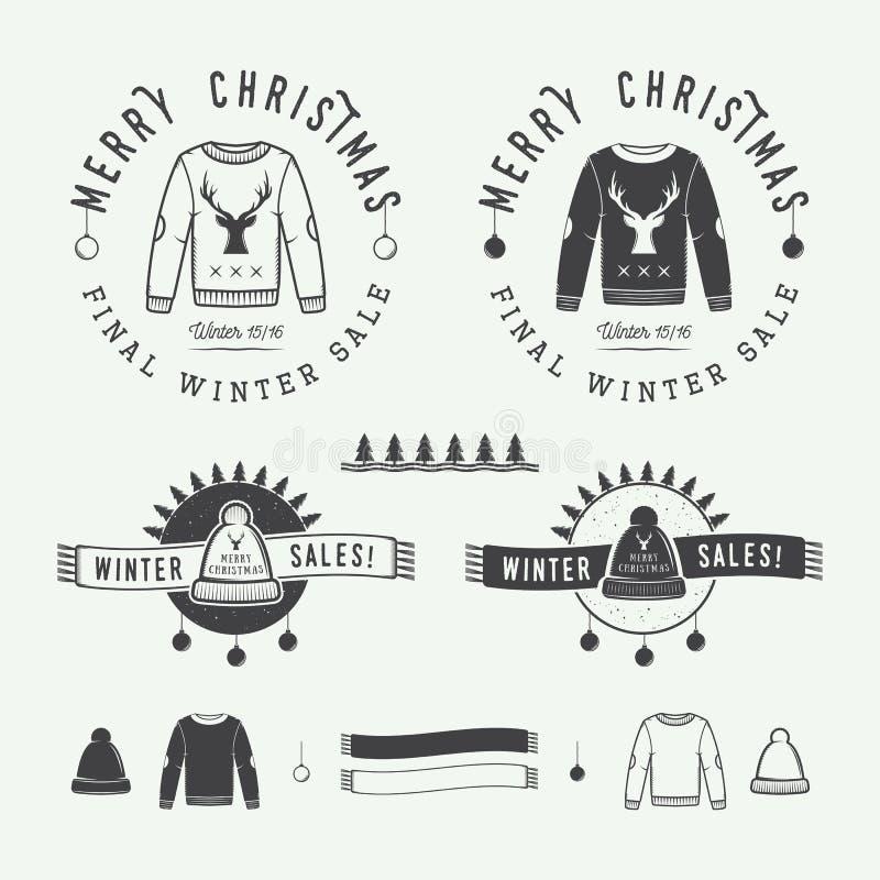 Logo d'annata di vendite di inverno o di Buon Natale, emblema, distintivo royalty illustrazione gratis
