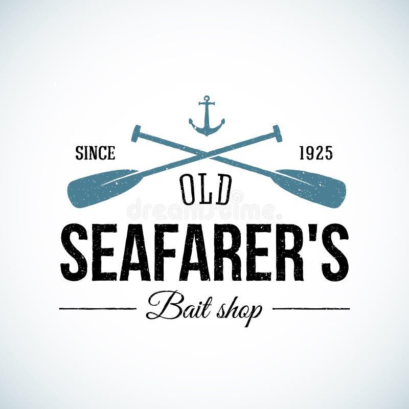 Logo d'annata di vettore del vecchio dei marinai negozio dell'esca illustrazione di stock