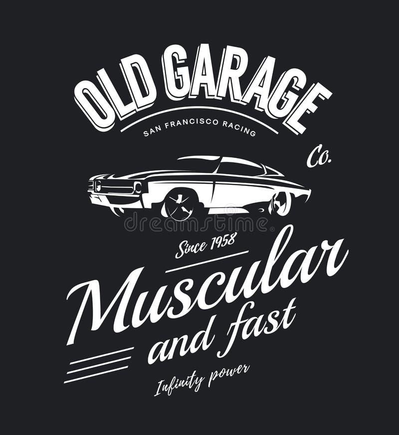 Logo d'annata di vettore dell'automobile del muscolo isolato su fondo scuro royalty illustrazione gratis