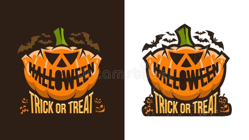 Logo d'annata insolito di Halloween con la zucca illustrazione di stock