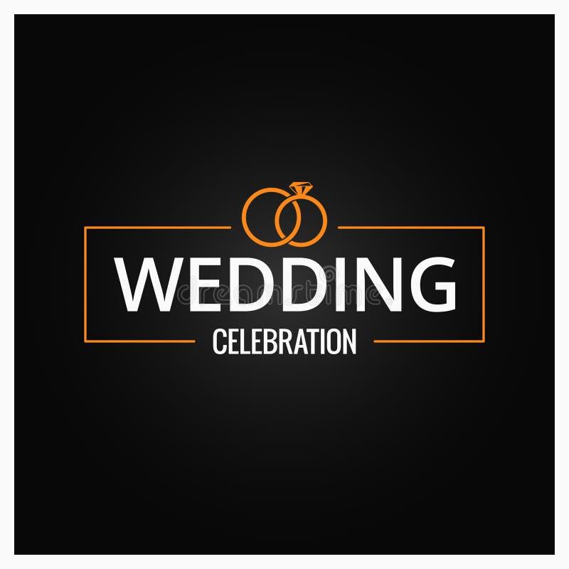Logo d'anneaux de mariage sur le fond noir
