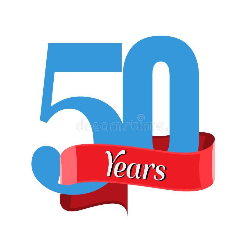 logo d'anniversaire de 50 ans avec le ruban rouge Vecteur plat de style illustration stock