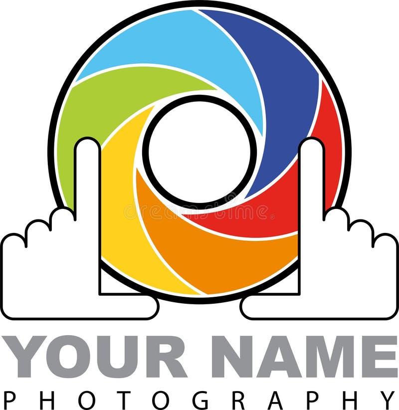 Logo d'appareil-photo - volet coloré avec des mains - illustration illustration de vecteur