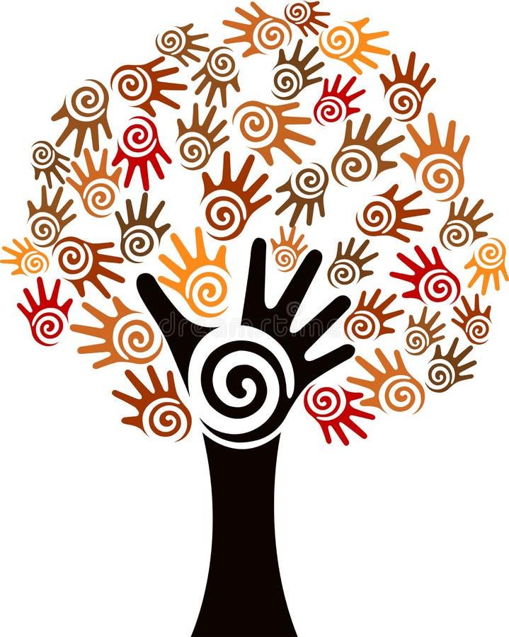 Logo d'arbre de main illustration stock