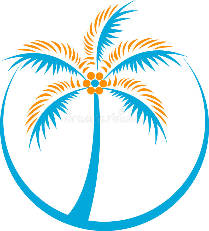 Logo d'arbre de noix de coco illustration stock