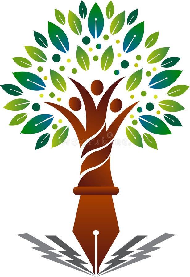Logo d'arbre généalogique d'éducation illustration de vecteur