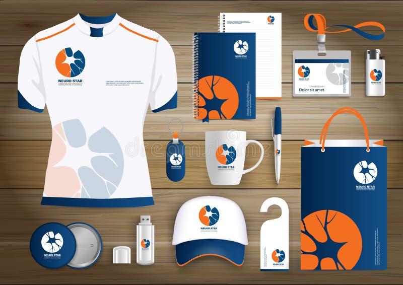Logo d'articles de cadeau d'étoile de neurologie, conception de calibre d'identité d'entreprise, vert de papeterie illustration stock