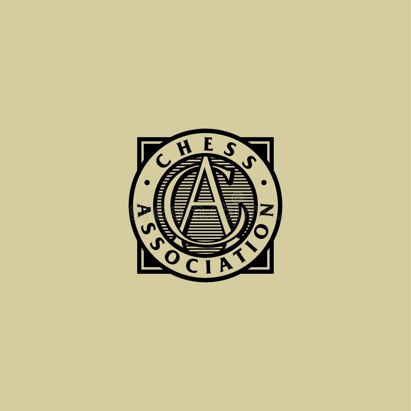 Logo d'association d'échecs A et C ont croisé des lettres dans un insigne rond Style de gravure illustration stock