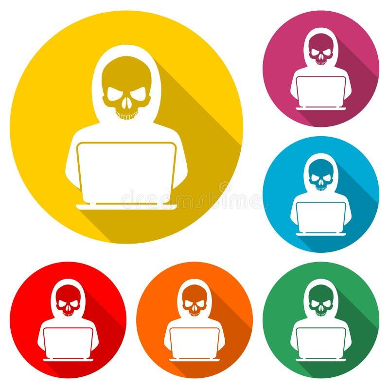 Logo d'attaque de Cyber, icône de pirate informatique, crime de Cyber ou menaces, ensemble de couleur avec la longue ombre illustration de vecteur