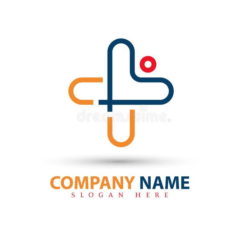 Logo d'avanguardia di concetto della gente di vettore nuovo, con il simbolo trasversale, cura, bellezza Logo Icon Design medico illustrazione di stock