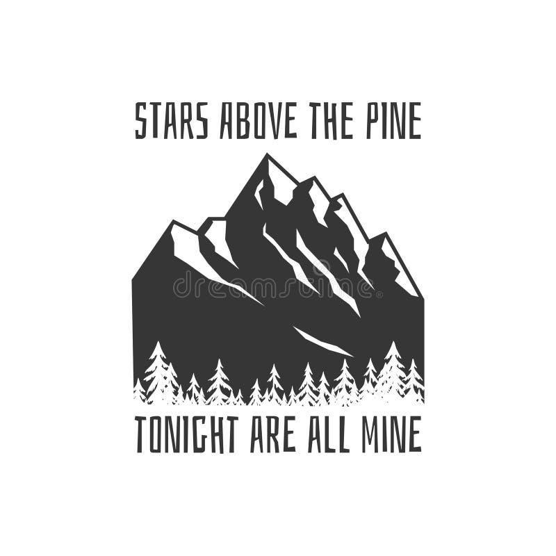 Logo d'aventure de montagnes Conception de motivation et inspirée de cru de timbre ou de goupille, de T-shirt ou de label illustration de vecteur