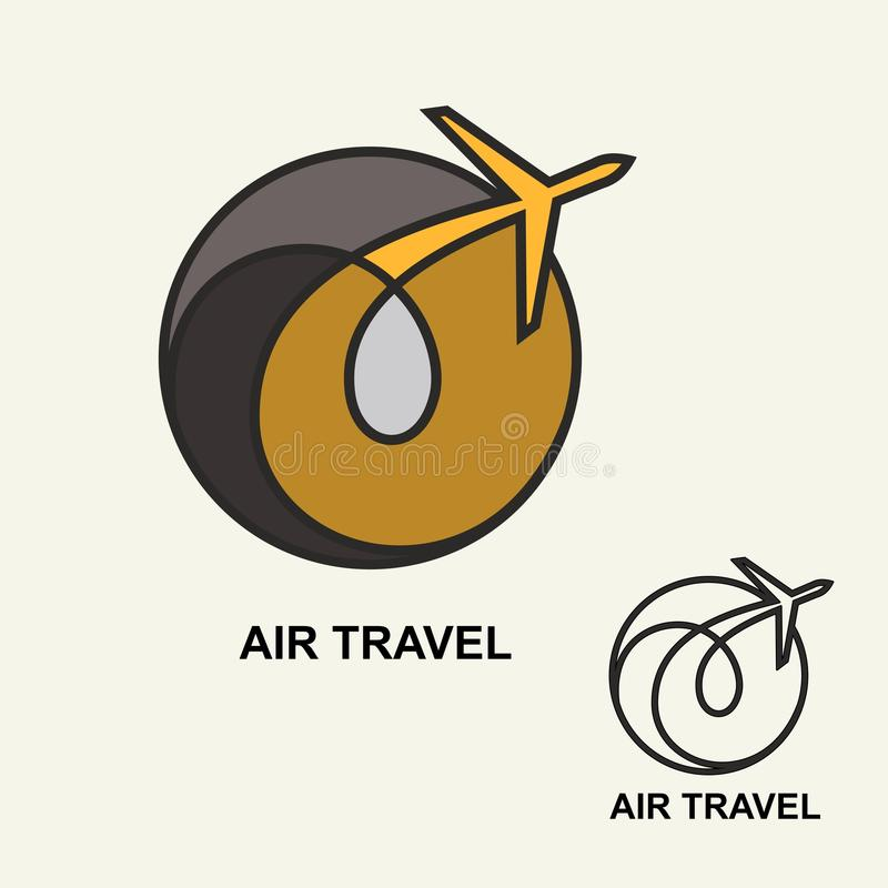 Logo d'aviation, calibre d'emblème, transports aériens Vecteur Schéma illustration libre de droits