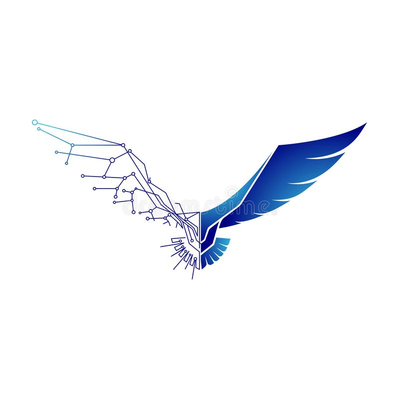 Logo d'Eagle, faucon avec le concept de technologie illustration stock