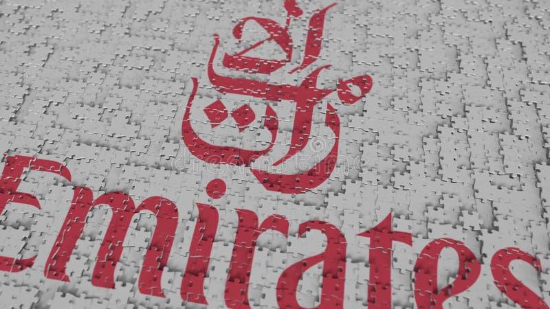 Logo d'EMIRATES AIRLINES composant avec des morceaux de puzzle, rendu 3D éditorial illustration stock