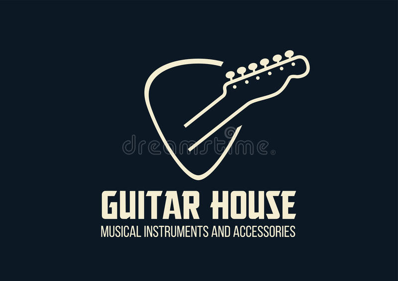 Logo d'ensemble de maison de guitare illustration stock