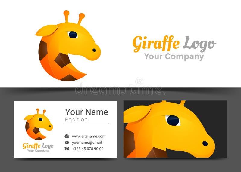 Logo d'entreprise de girafe et calibre de signe de carte de visite professionnelle de visite créatif illustration de vecteur