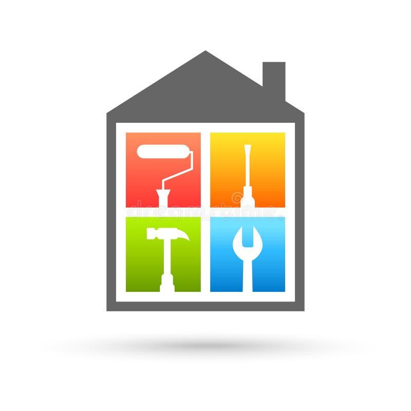 Logo d'entretien de Chambre avec différents outils de travail illustration stock