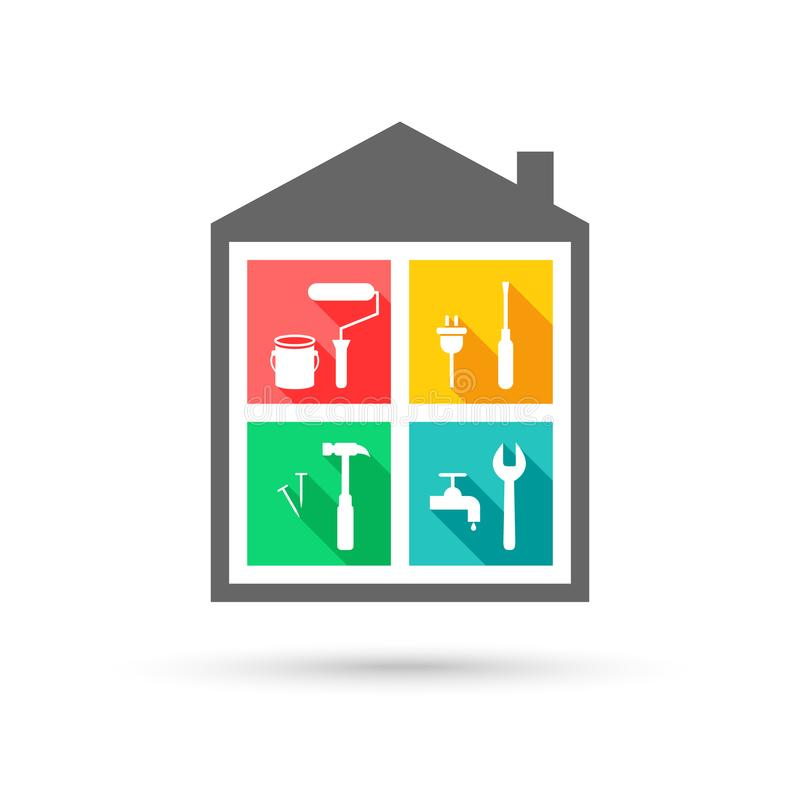 Logo d'entretien de Chambre avec différents outils de travail illustration libre de droits