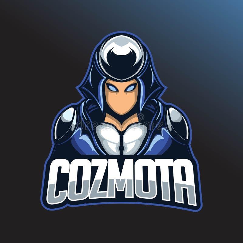 Logo d'Esport de guerrier Calibre de logo d'Esport avec utiliser un casque et une armure de combat illustration libre de droits