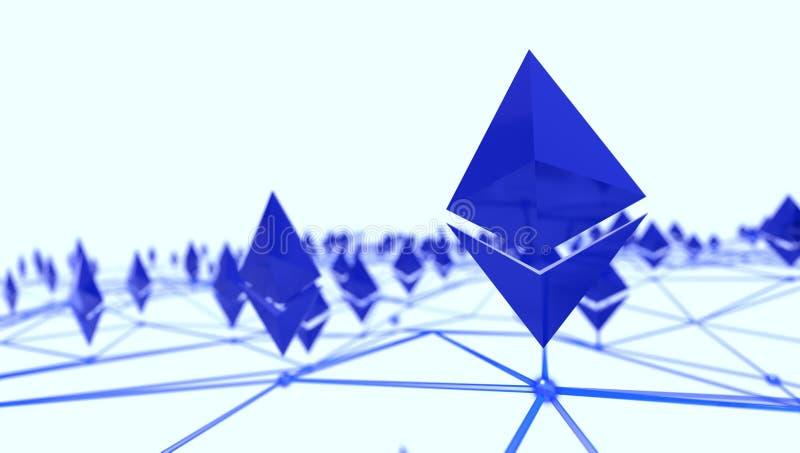 Logo d'Ethereum 3d dans un réseau, rendu 3d photo libre de droits