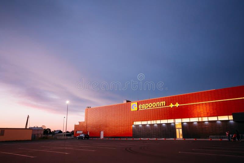 Logo d'Evroopt sur l'épicerie au Belarus photo stock