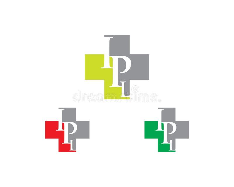 Logo d'hôpital de lettre de chargement initial illustration de vecteur