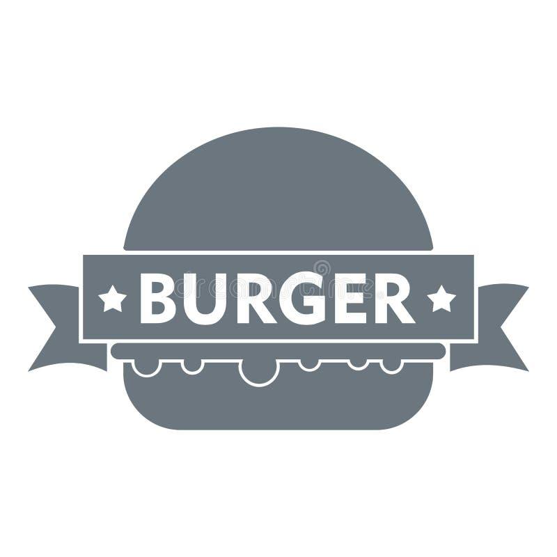 Logo d'hamburger d'emblème, style gris simple illustration stock