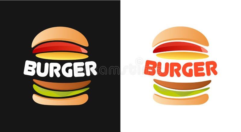 Logo d'hamburger sur le fond blanc et noir illustration de vecteur