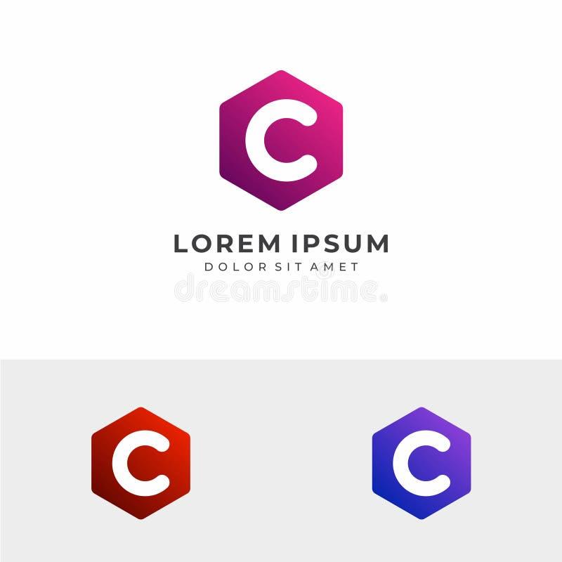 Logo d'hexagone de la lettre initiale C photos libres de droits