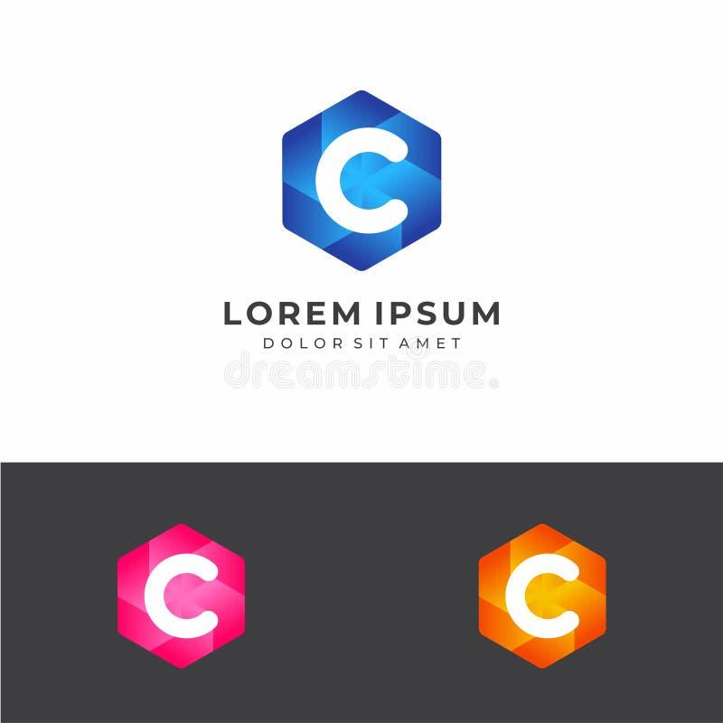 Logo d'hexagone de la lettre initiale C photo stock
