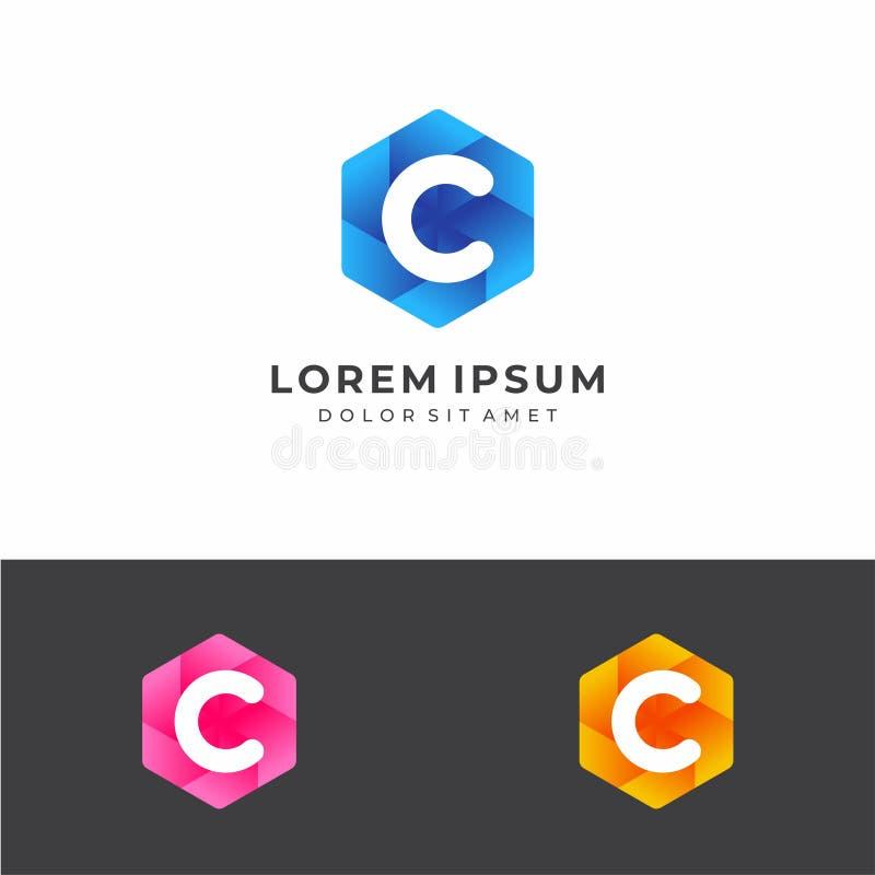 Logo d'hexagone de la lettre initiale C image stock
