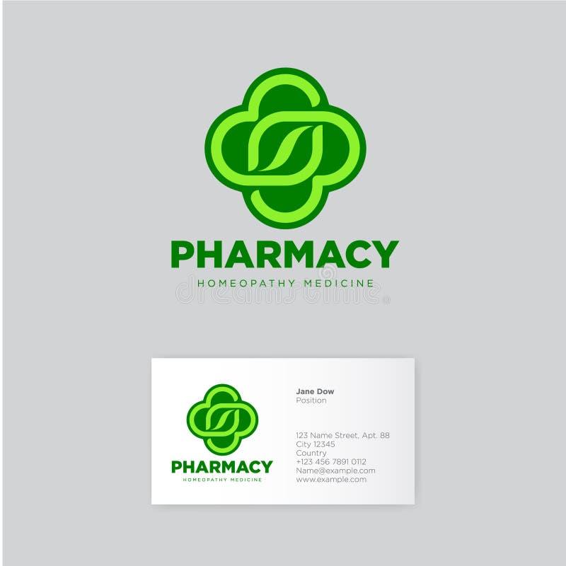 Logo d'homéopathie de pharmacie Graphisme vert Emblème de fines herbes de pharmacie identité Carte de visite professionnelle de v illustration stock