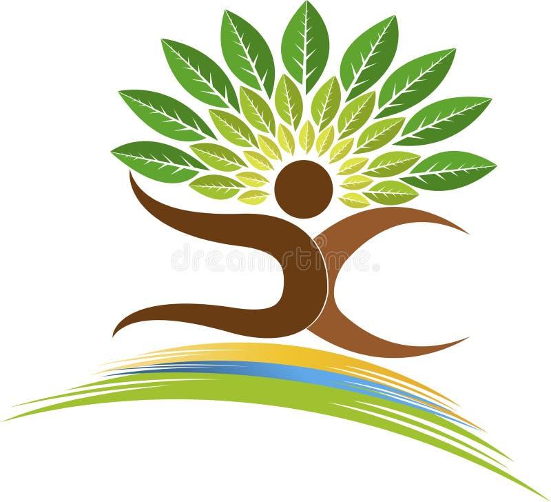 logo d'homme d'arbre illustration stock