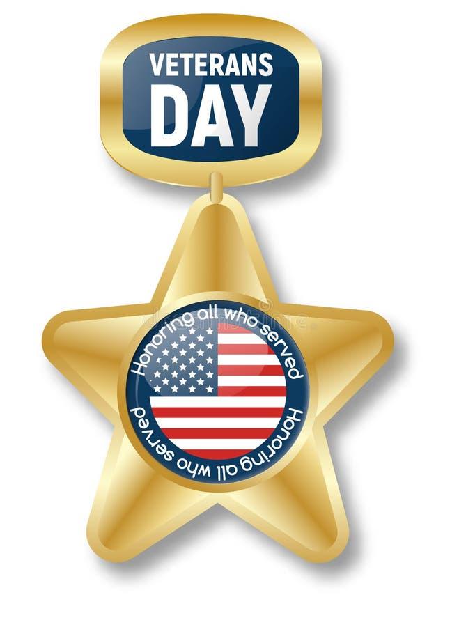 Logo d'icône d'étoile d'or de jour de vétérans, style réaliste illustration libre de droits