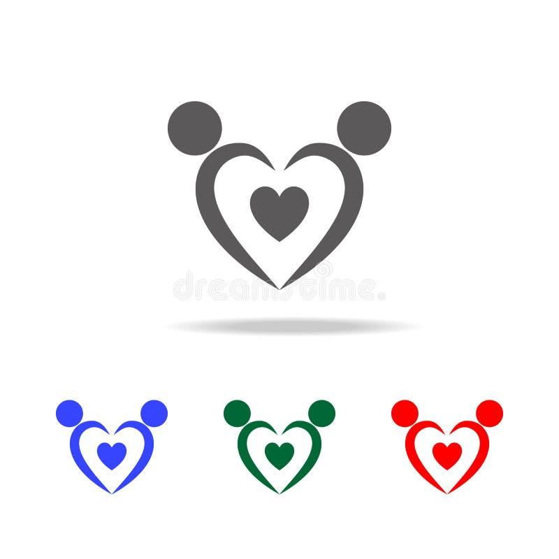 logo d'icône d'amants Éléments de Valentine \ de 'jour de s dans les icônes colorées multi Icône de la meilleure qualité de conce illustration de vecteur