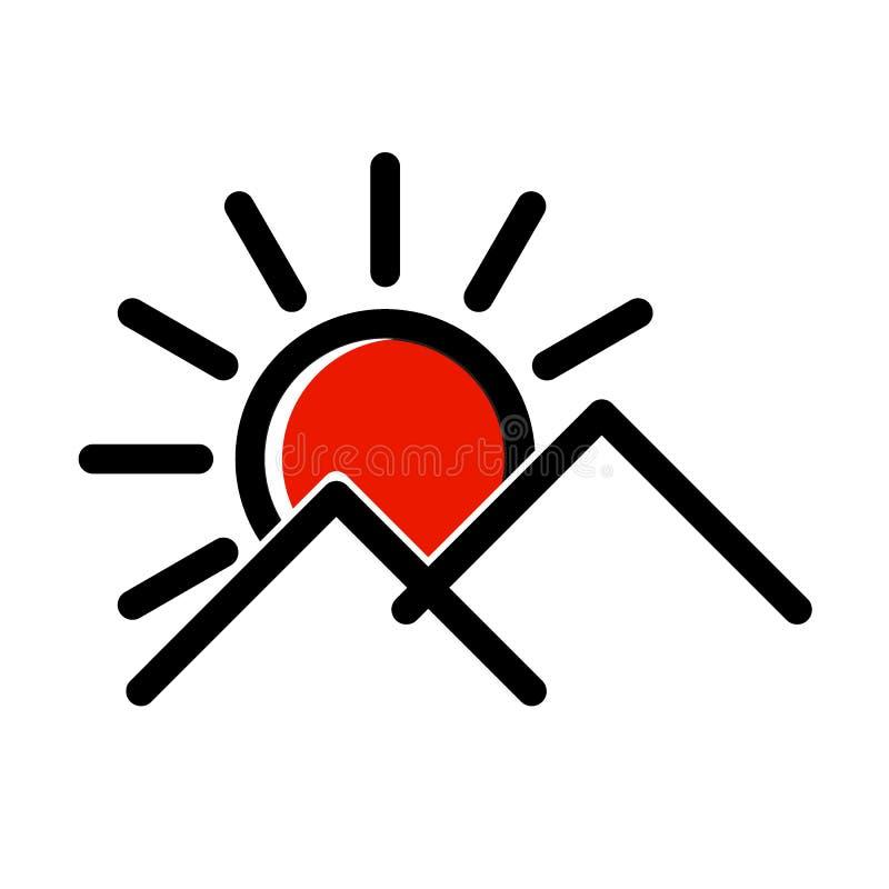 Logo d'icône de montagne de Sun illustration stock