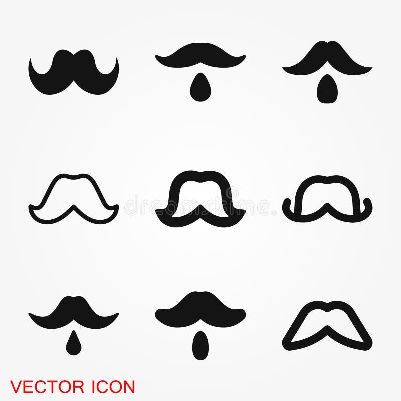 Logo d'icône de moustache, illustration, symbole de signe de vecteur pour la conception illustration de vecteur