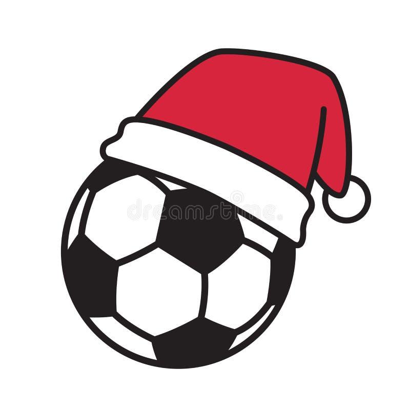 Logo d'icône de personnage de dessin animé de Santa Claus Xmas de chapeau de Noël du football de vecteur de ballon de football illustration stock