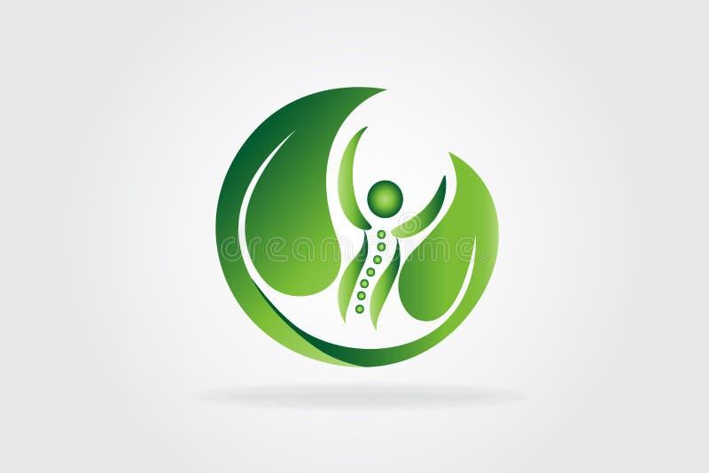 Logo d'icône de soin d'épine de nature de santé illustration stock