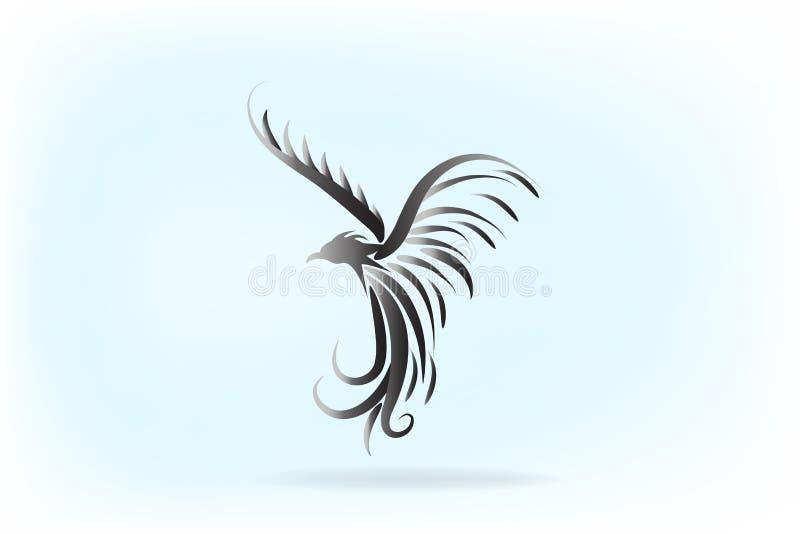 Logo d'icône de tatouage d'oiseau de Phoenix illustration stock