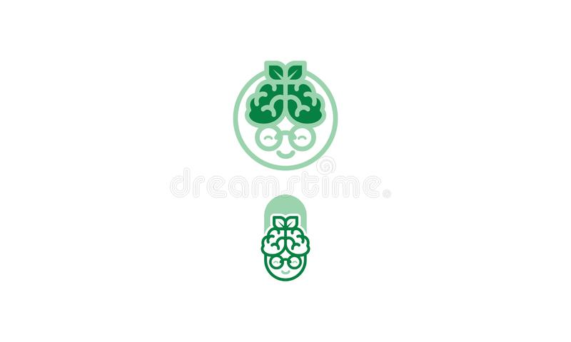 Logo d'icône de vecteur de santé de cerveau de grand-maman illustration libre de droits