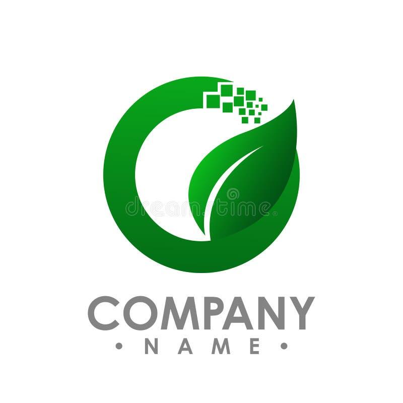 Logo d'icône verte de vecteur d'élément de nature d'écologie de feuille Conception SH illustration libre de droits