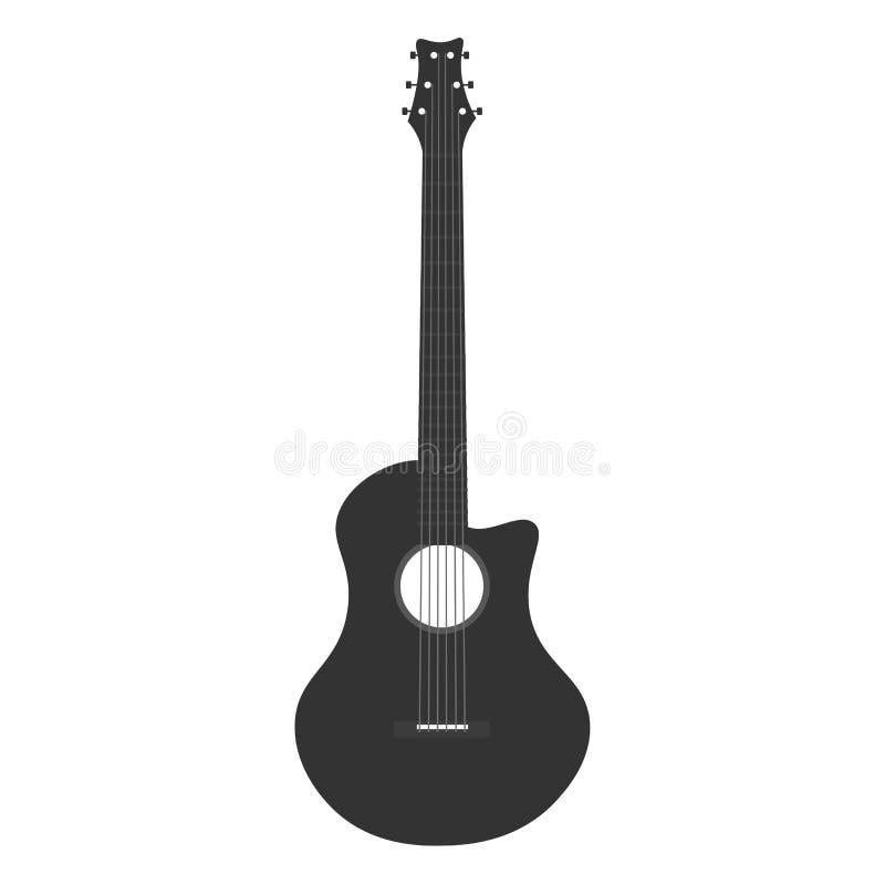 Logo d'icône de guitare Illustration plate de vecteur Musique illustration stock