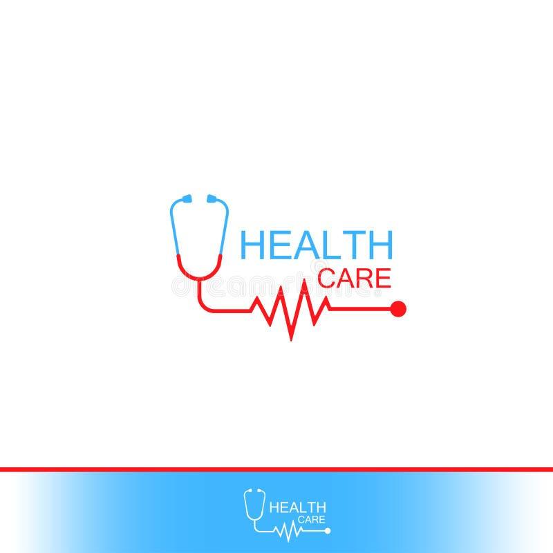Logo d'icône de vecteur de soins de santé Tonometer avec le cardiogramme encourageant de coeur Label ou logo pour l'hôpital Vecte illustration stock