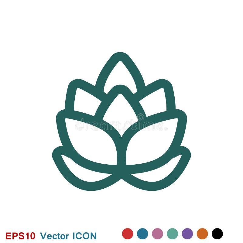 Logo d'ic?ne d'houblon, illustration, symbole de signe de vecteur pour la conception illustration stock