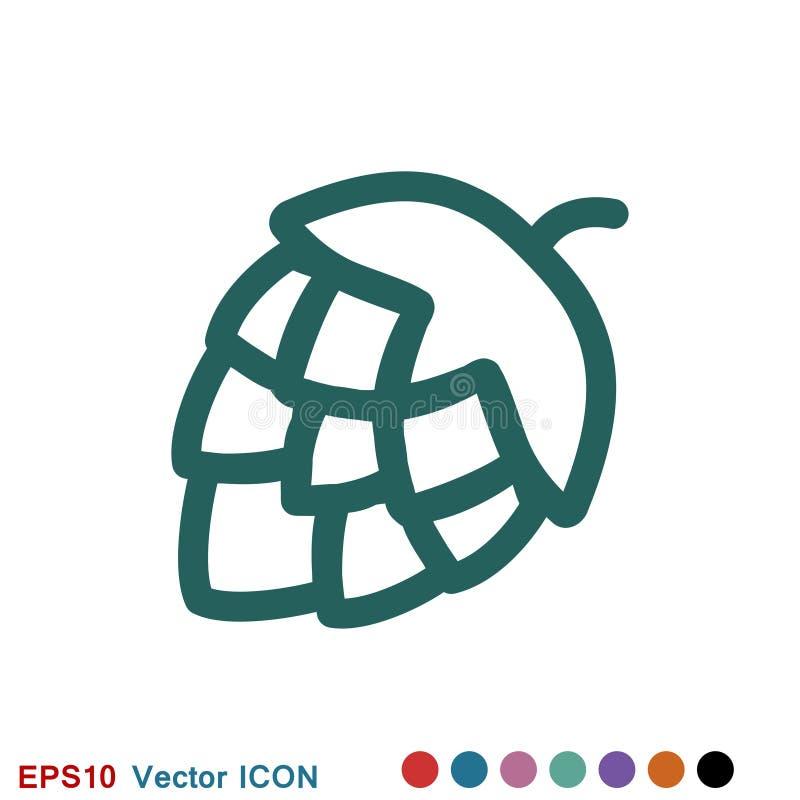 Logo d'ic?ne d'houblon, illustration, symbole de signe de vecteur pour la conception illustration libre de droits