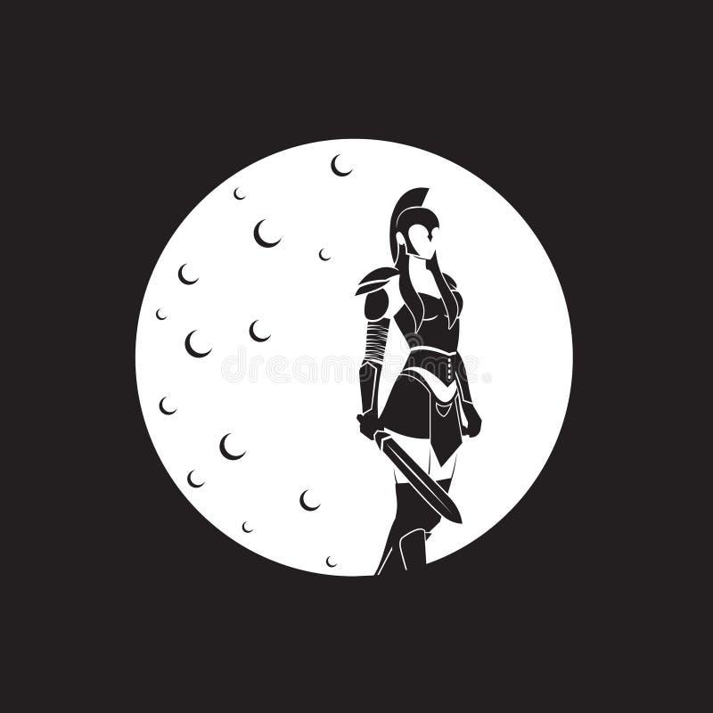 Logo d'Ilustration de guerrière de femme image stock