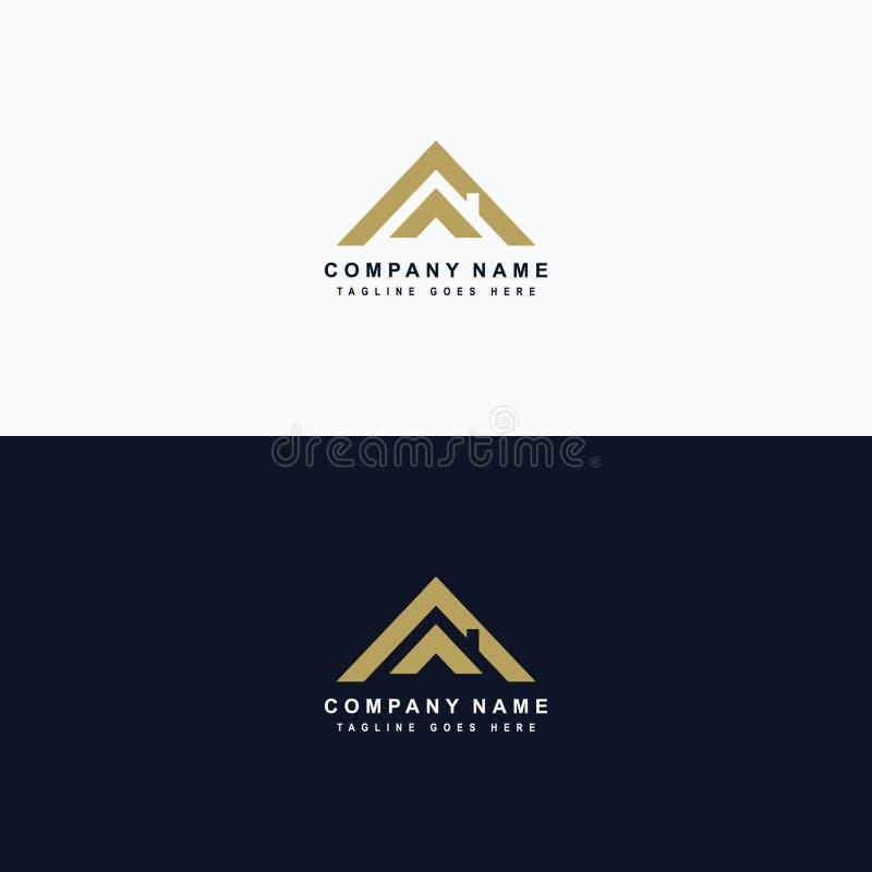 Logo d'immobiliers, toit de maison lié au logo de propriété, loyer de maison illustration de vecteur
