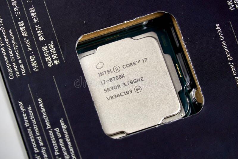 Logo d'Intel et unité centrale de traitement photos libres de droits